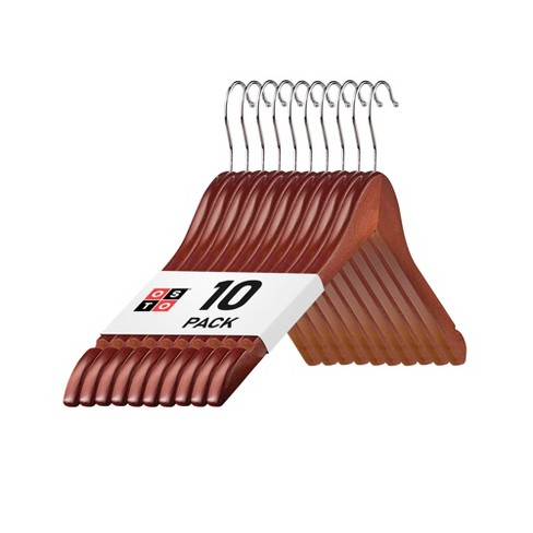 OSTO Premium Wooden Suit Hangers with Rubber Grips, Smooth Finish, Swivel Hook, Notches, and Nonslip Grip - image 1 of 4