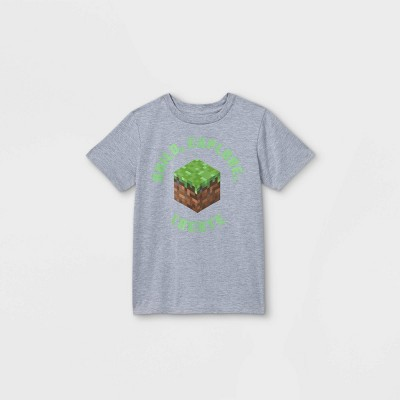 Boys' Minecraft Earth Day Short Sleeve Graphic T-Shirt - Gray