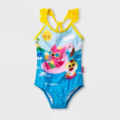 6a79bec5a10fe Baby Girls' Pinkfong Baby Shark One Piece Swimsuit - Blue : Target