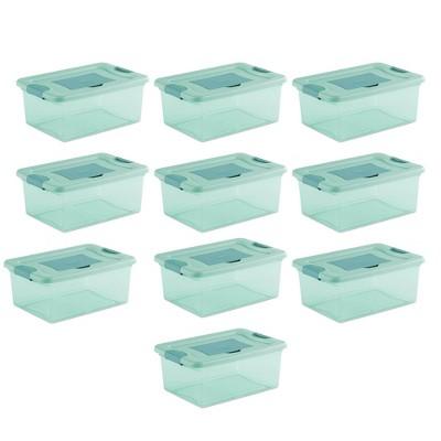 Sterilite 15 Quart Fresh Scent Stackable Storage Box Container (10 Pack), Aqau