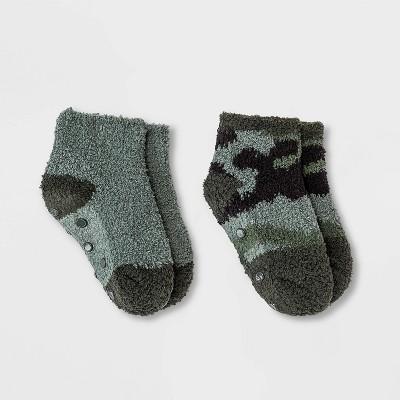 Toddler 2pk Cozy Camo Ankle Socks - Cat & Jack™ Green 6-7