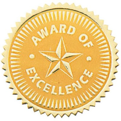 Hammond & Stephens Award of Excellence Gold Foil Embossed Seal, pk of 54