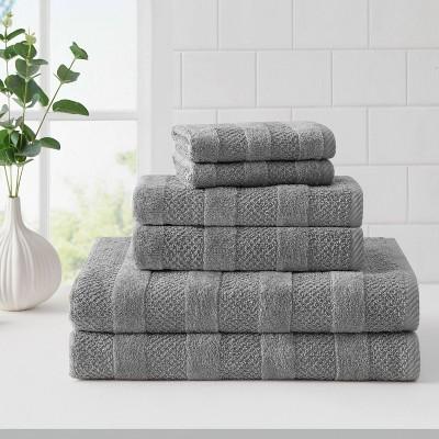 6pk Quick Dry Bath Towel Set Gray - Cannon