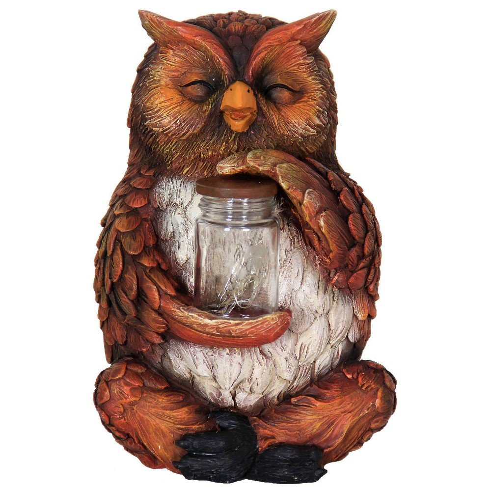 """Promos 9.84"""" Glass and Resin Solar Garden Owl with LED Firefly Jar - Exhart"""