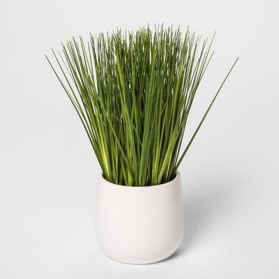 9  x 5.5  Artificial Grass Arrangement In Pot Green/White - Threshold™