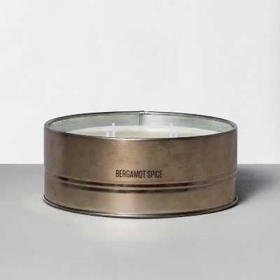 28oz Large Holiday Tin 4-Wick Candle Bergamot Spice - Hearth & Hand™ with Magnolia