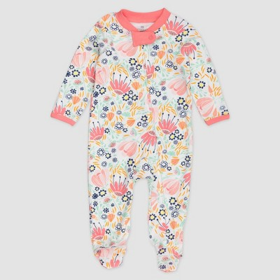 Honest Baby Girls' Flower Power Organic Cotton Pajama Jumpsuit - Newborn
