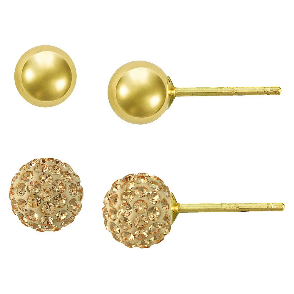 Gold Plated Champagne Crystal Round and Ball Stud Earrings Set - Gold, Girl's