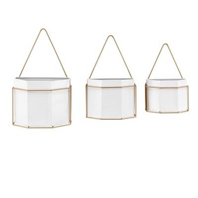 Set of 3 Geometric Wall Planters White/Gold - Danya B.
