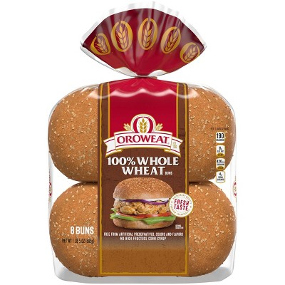 Oroweat 100% Whole Wheat Hamburger Buns - 1lbs/8ct