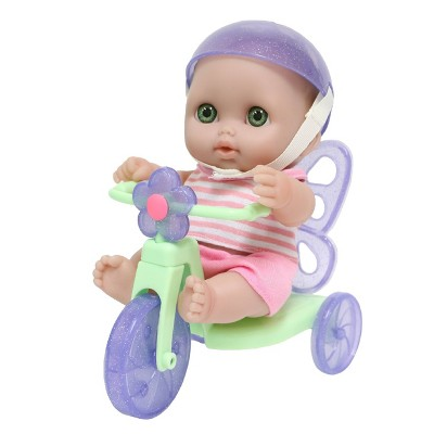 "JC Toys Lil' Cutesies 8.5"" All Vinyl Baby Doll with Tricycle"
