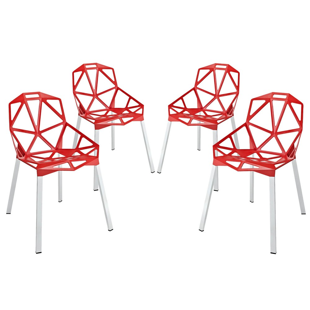 Connections Dining Chair Set of 4 Red - Modway