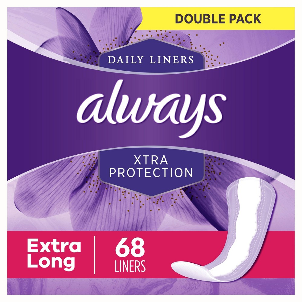 Always Xtra Protection Extra Long Dailies Pantiliners 68ct