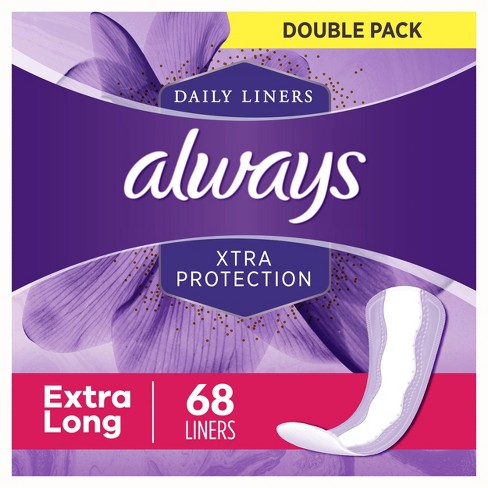 Always Xtra Protection Extra Long Dailies Pantiliners - 68ct - image 1 of 4