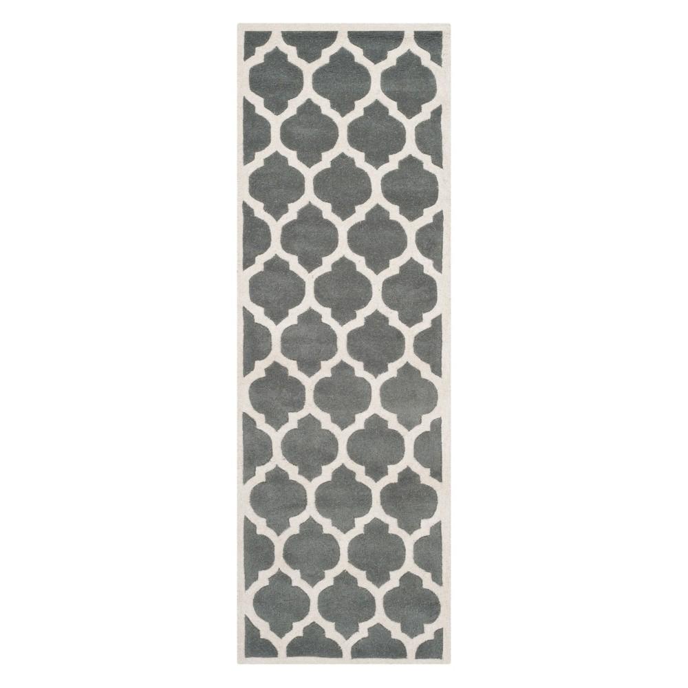 23X9 Quatrefoil Design Tufted Runner Dark Gray/Ivory - Safavieh Price