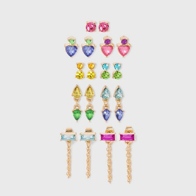 Crystal Studs Multi-Earring Set 9pc - Wild Fable™
