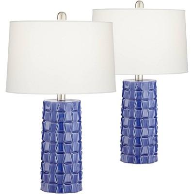 360 Lighting Modern Table Lamps Set of 2 Textured Blue Ceramic Column White Drum Shade Living Room Bedroom Bedside Office Family