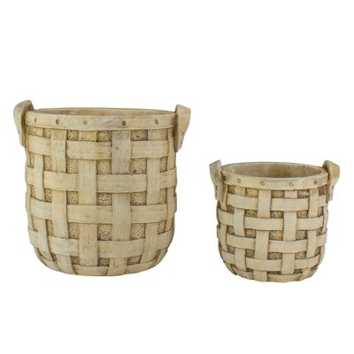 "Napa Home & Garden Set of 2 Beige Tobacco Basket Planter Set 9.5"""