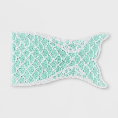 Mermaid Tail Bath Rug Crystalized Green - Pillowfort™ - image 1 of 2