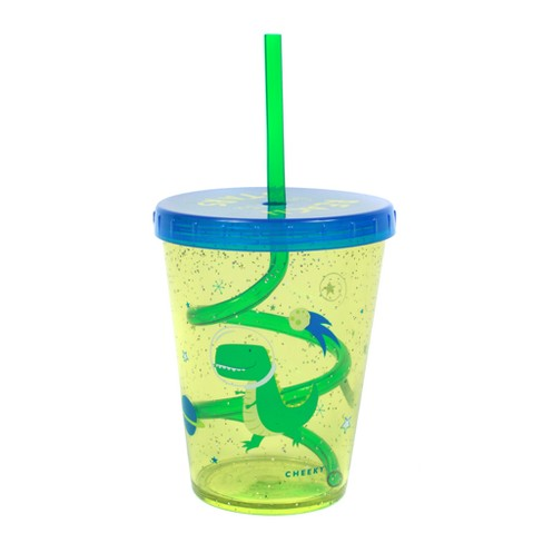 Cheeky 14.5oz Plastic Straw Tumbler Space Dinosaur Green/Blue - image 1 of 3