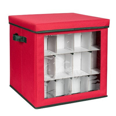 Honey-Can-Do Holiday Ornament Storage Large Red Cube