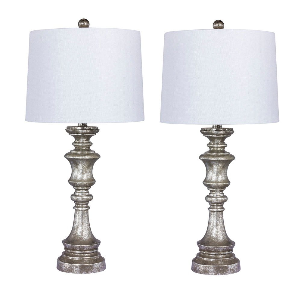 Image of 2pk Candlestick Antiqued Resin Table Lamps Silver (Lamp Only) - Fangio Lighting