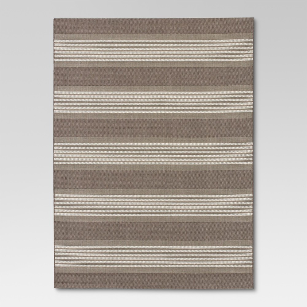 Bold Stripe Taupe (Brown) Outdoor Rug - 9'x12' - Threshold