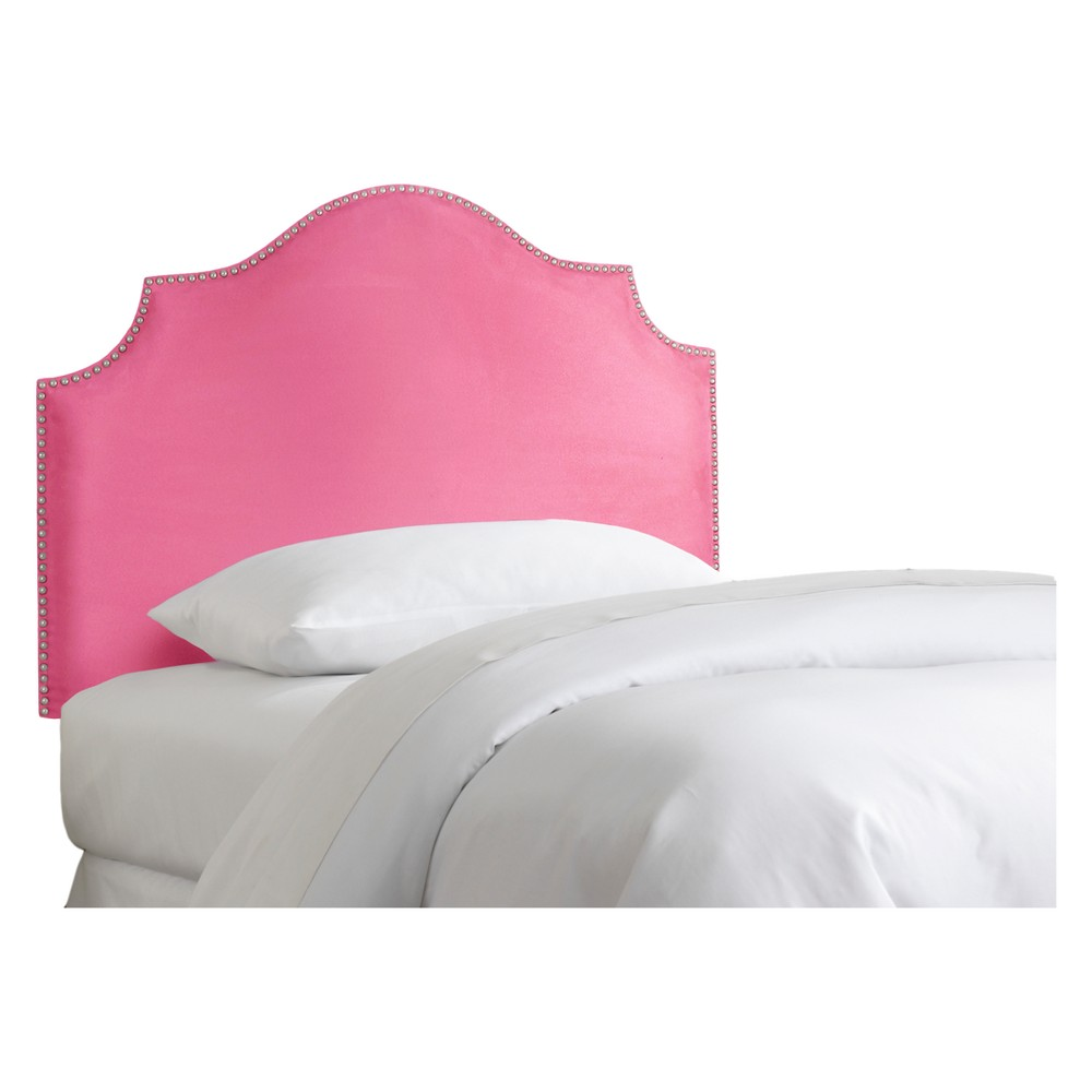 Twin Kids' Nail Button Notched Headboard Premier Hot Pink - Skyline Furniture