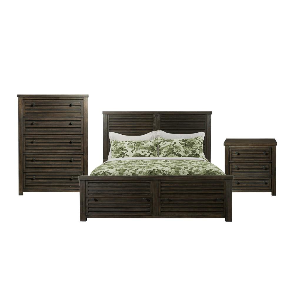 3pc King Montego Storage Bedroom Set Dark Walnut - Picket House Furnishings, Brown