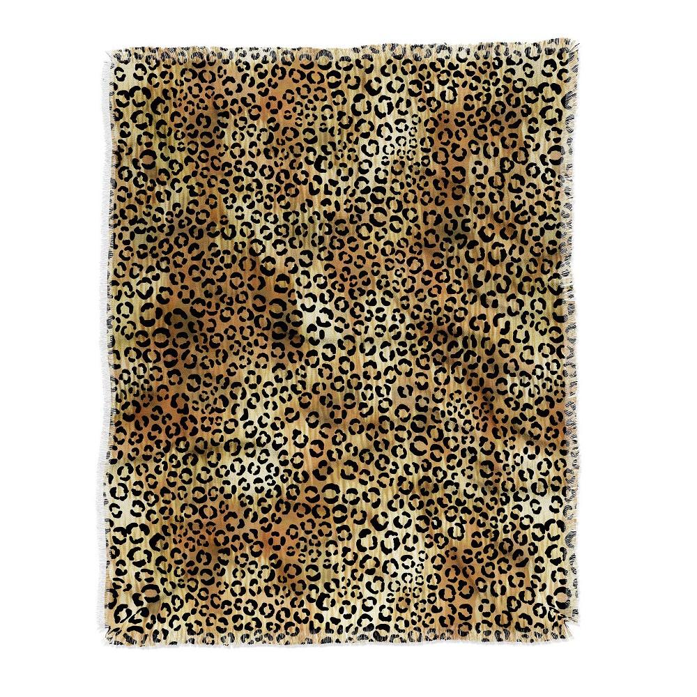 Schatzi Brown Leopard Tan Throw Blanket Brown - Deny Designs Top