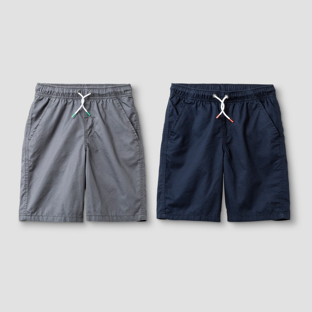 Boys' 2pk Twill Pull-On Shorts - Cat & Jack Navy/Gray L Husky