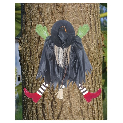 Halloween Tree Trunk Witch with Red Shoes