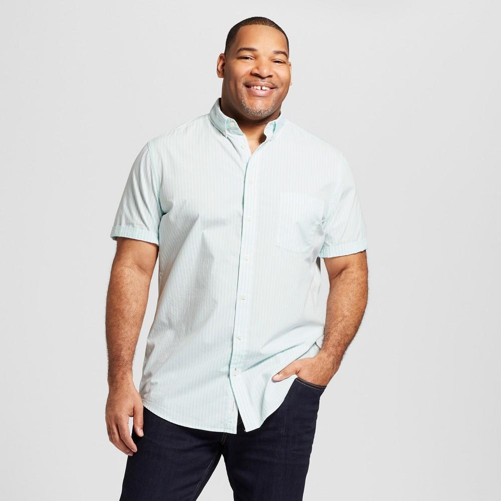Men's Tall Striped Standard Fit Short Sleeve Button-Down Shirt - Goodfellow & Co Soft Aqua MT