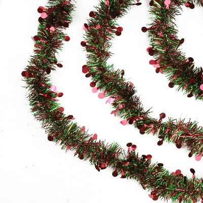 """Northlight 50' x 2.5"""" Unlit Red/Green with Red Polka Dots Tinsel Christmas Garland"""