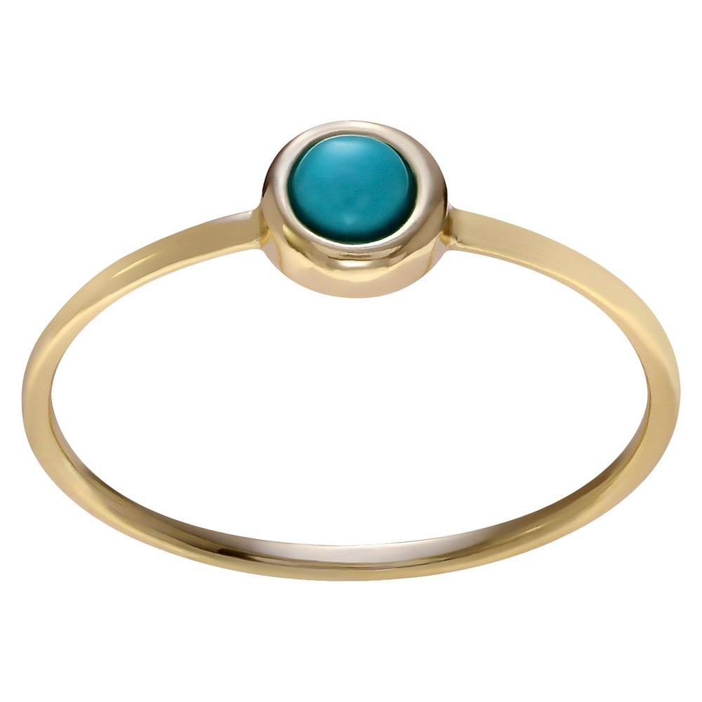 1/10 CT. T.W. Round-cut Turquoise Circle Bezel Set Ring in Sterling Silver - Gold, 7, Girl's