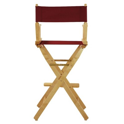 Burgundy Bar Height Director's Chair-Natural, Burgandy