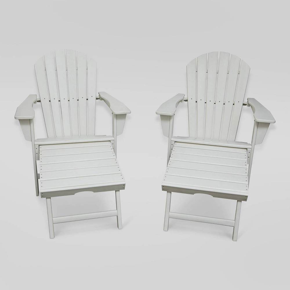 Image of Hampton 2pk Outdoor Patio Adirondack Chair with Hideaway Ottoman - White - LuXeo