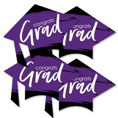 Big Dot of Happiness Purple Grad - Best is Yet to Come - Grad Cap Decorations DIY Purple Graduation Party Essentials - Set of 20