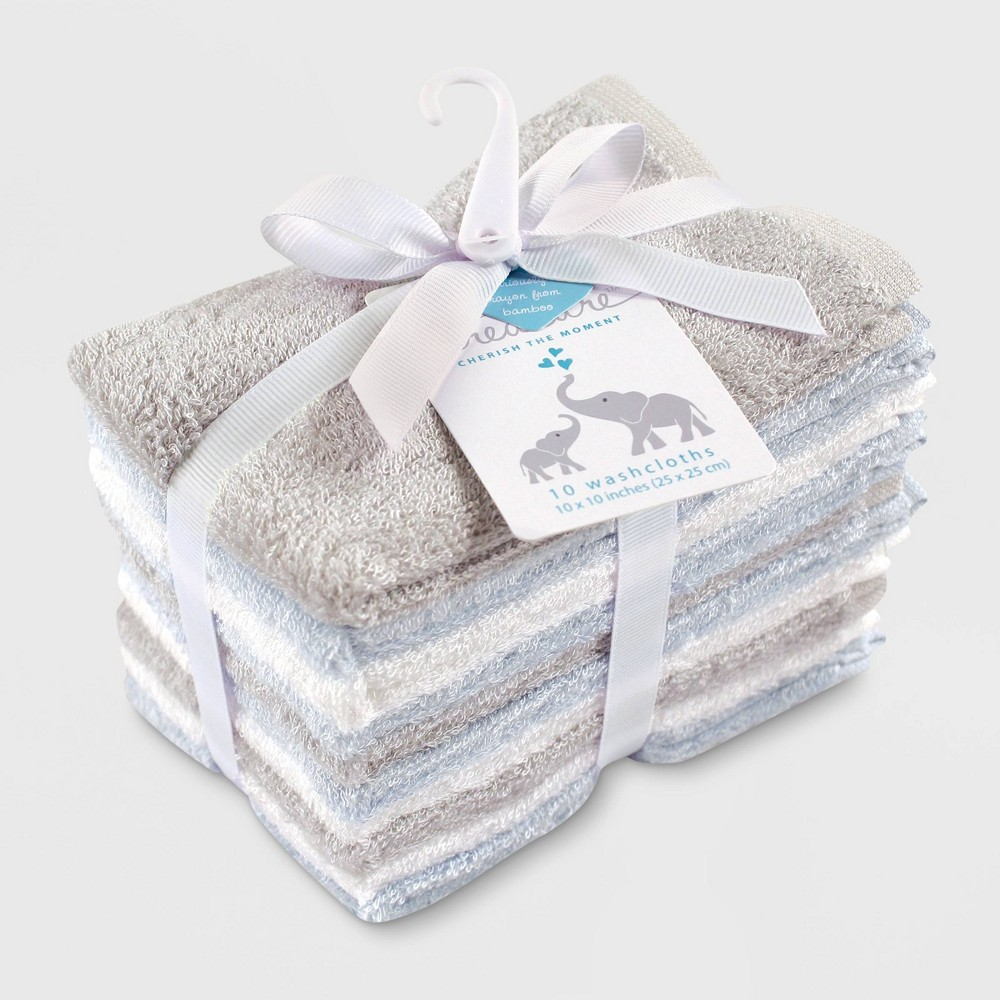 Image of Hudson Baby Boys' 10pk Rayon from Bamboo Washcloths - Blue/Gray One Size, Blue Gray