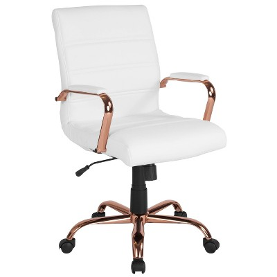 Mid Back Leather Executive Swivel Office Chair White/Rose Gold - Riverstone Furniture