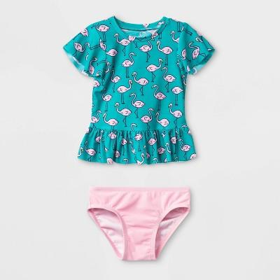 Baby Girls' Short Sleeve Flamingo Rash Guard Set - Cat & Jack™ Aqua 9M