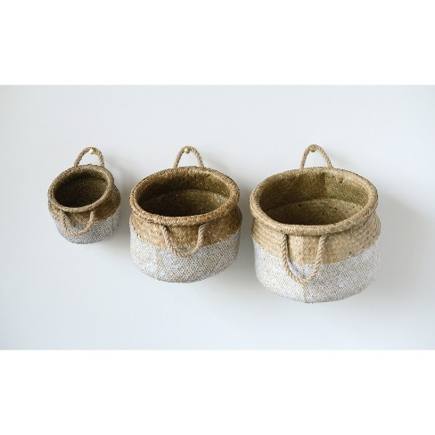 Decorative Basket Set of 3 - Beige/White - image 1 of 2