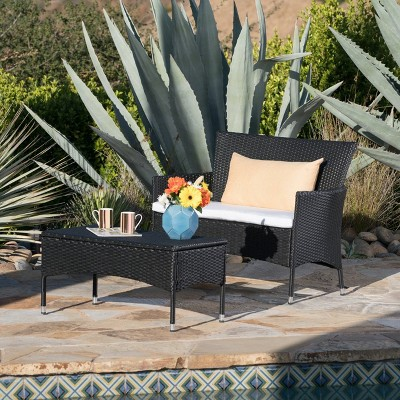Malta 2pc Wicker Patio Loveseat & Coffee Table Set - Black/White - Christopher Knight Home