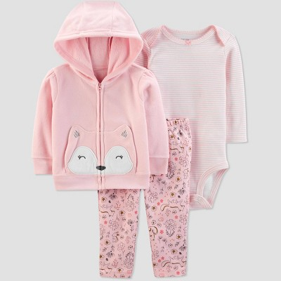 Baby Girls' Fox Cardigan Top & Bottom Set - Just One You® made by carter's Light Pink Newborn