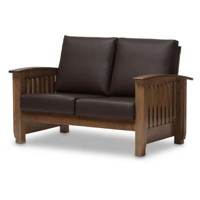 Charlotte Modern Classic Mission Style Faux Leather 2 Seater Loveseat Dark Brown/Walnut Brown - Baxton Studio
