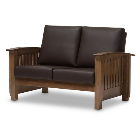 Stupendous Charlotte Modern Classic Mission Style Faux Leather 2 Seater Loveseat Dark Brown Walnut Brown Baxton Studio Gmtry Best Dining Table And Chair Ideas Images Gmtryco