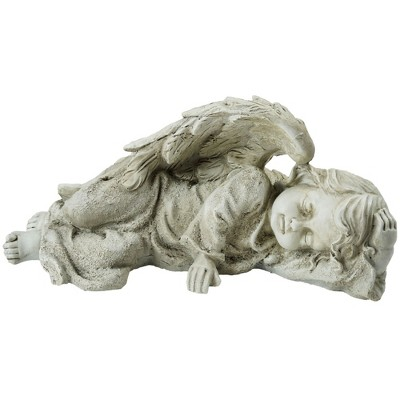 "Northlight 9.75"" Sleeping Cherub Angel Outdoor Patio Garden Statue - Gray"