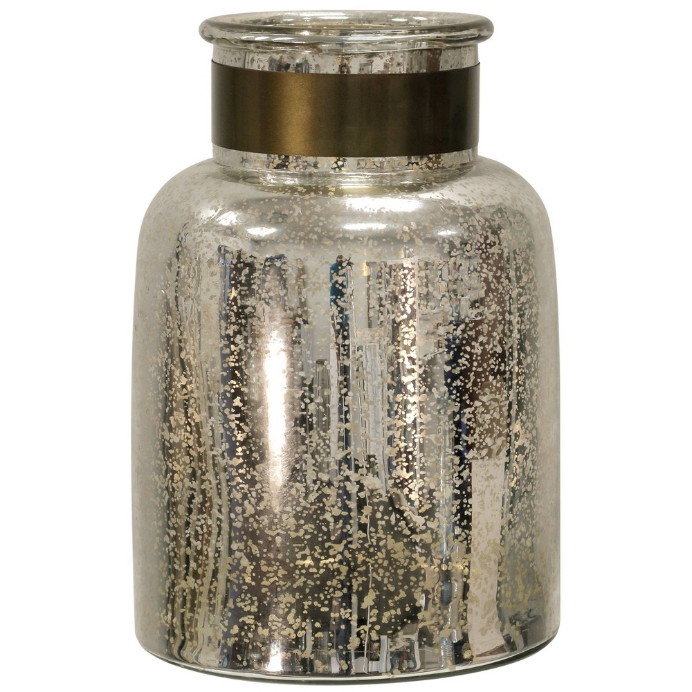 "Image of ""13"""" x 8"""" Hurricane Jar with Metal Band Antique Silver - StyleCraft"""