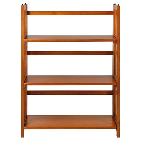 Folding 38 3 Tier Bookshelf Stackable Honey Oak