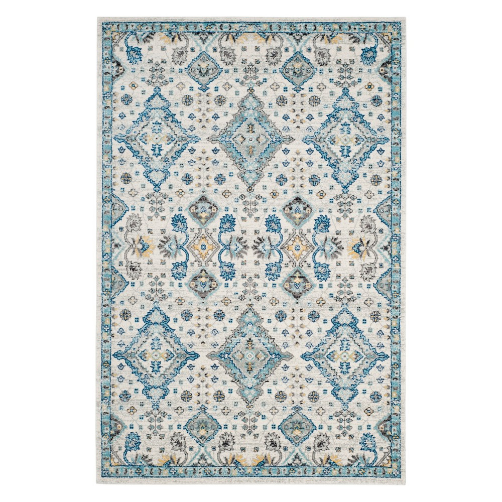 Medallion Area Rug Ivory/Light Blue